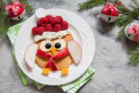 christmas owl pancake for funny kids breakfast