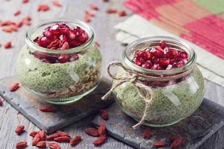 Matcha Chia Pomegranate Overnight Breakfast Parfaits