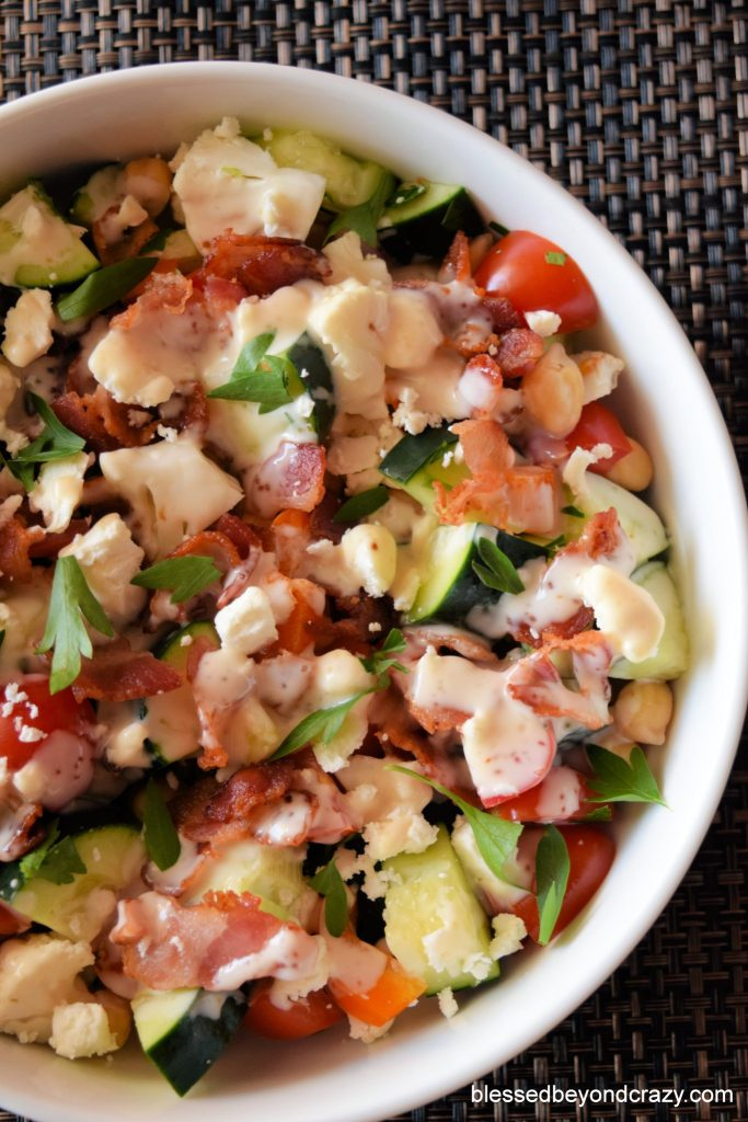 Gluten-Free Veggie Bacon Feta Salad with dressing