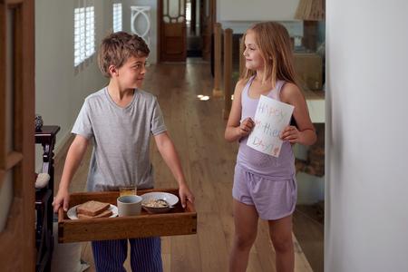 Kids Serving Mom breakfast