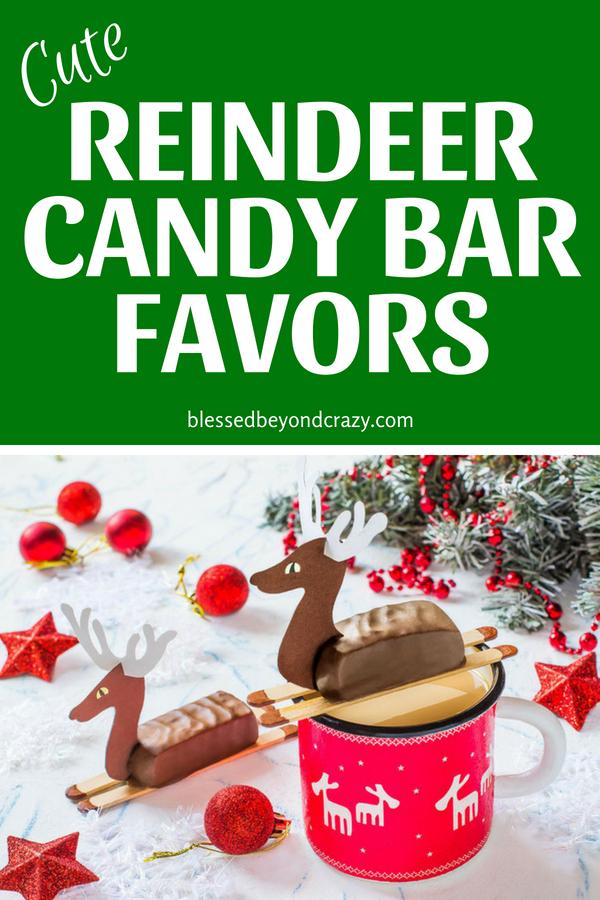 Cute Reindeer Candy Bar Favors