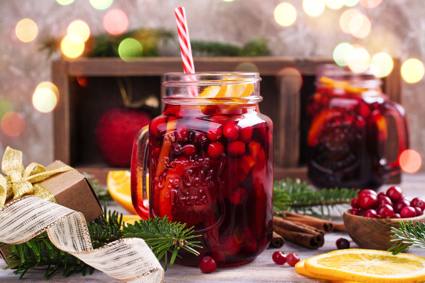 Cranberry and orange winter sangria