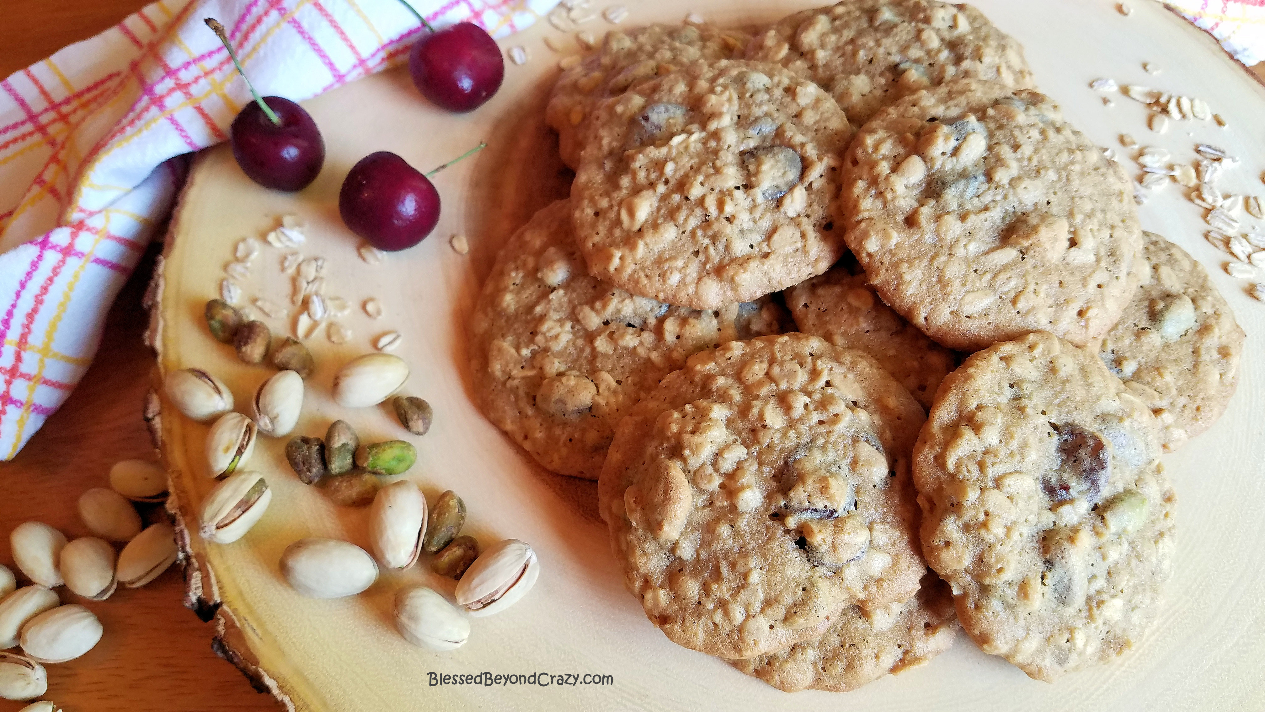 Horizontal Cherry Pistachio Oatmeal Cookies