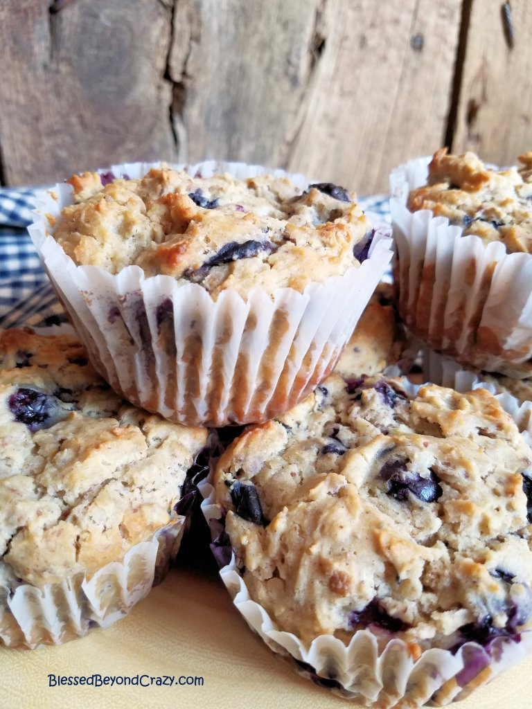 Stack of gluten free blueberry muffins ready to serve.