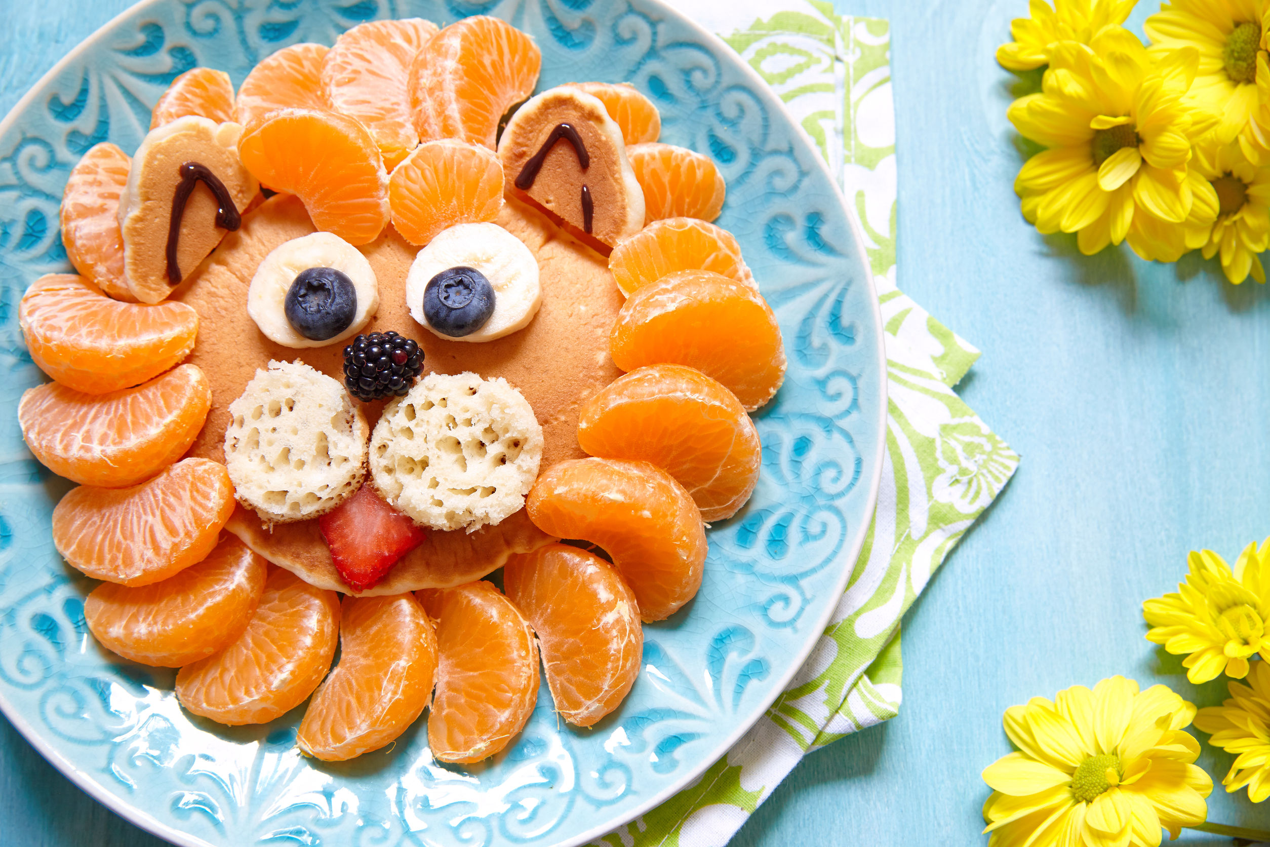 Adorable Lion King Pancakes ready to be enjoyed.