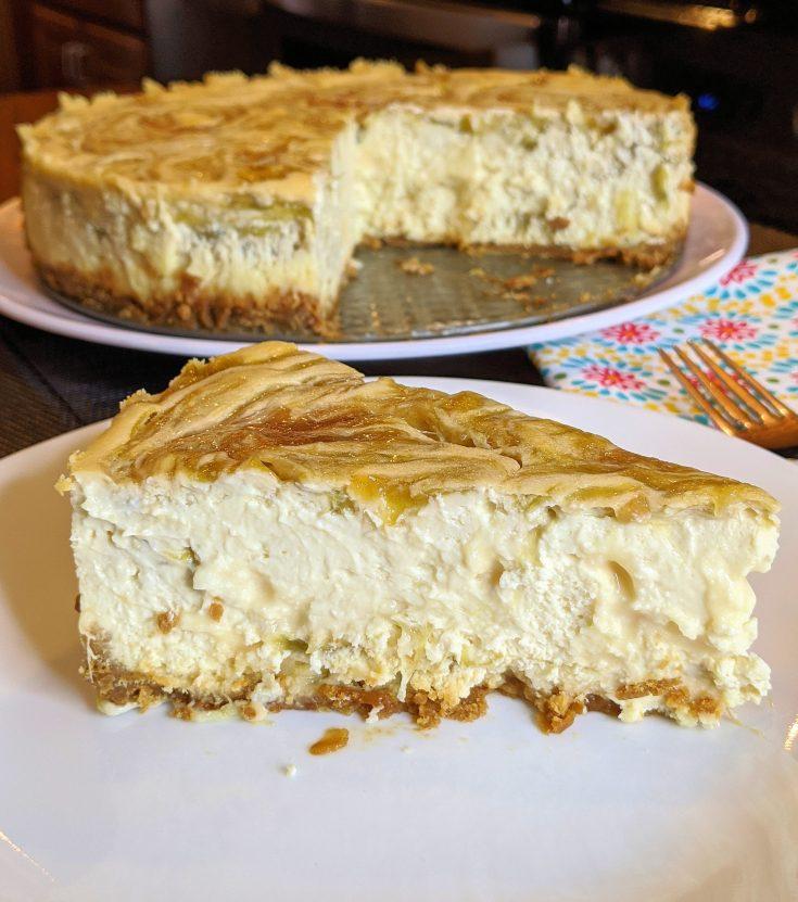 Rhubarb Swirl Cheesecake with Gluten-Free Option
