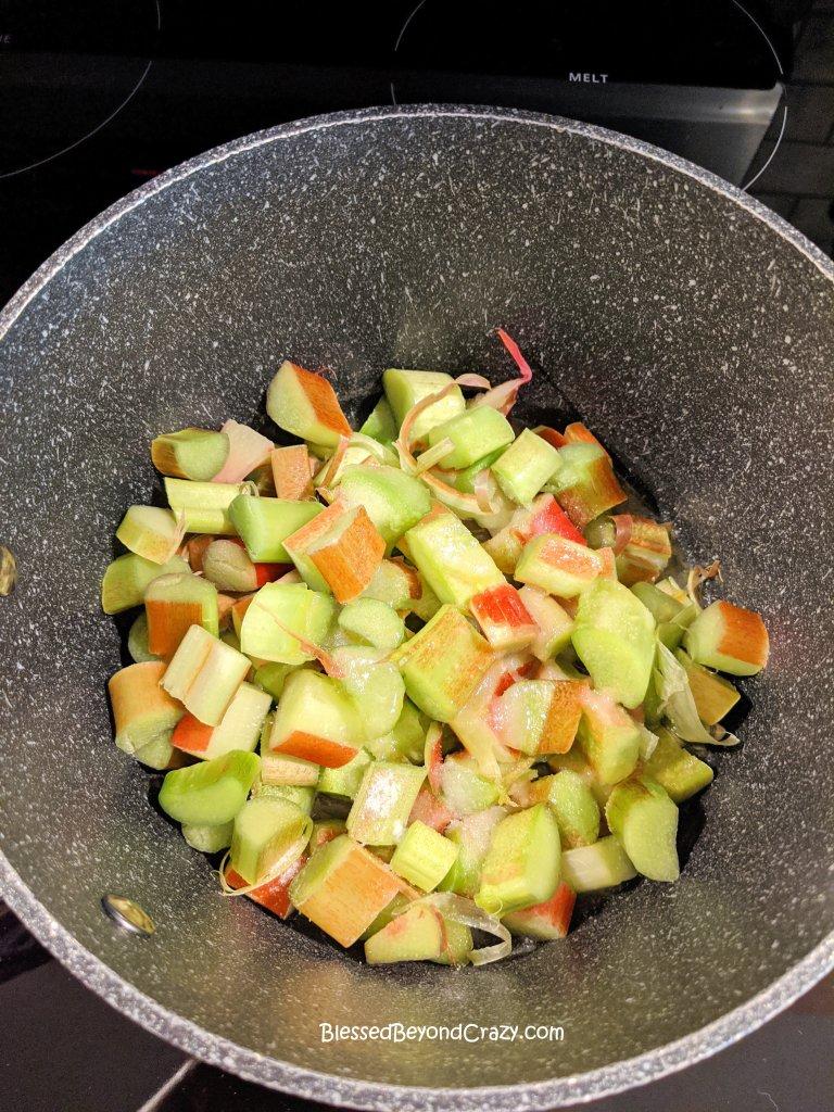 Freshly cut rhubarb ready for sauce.