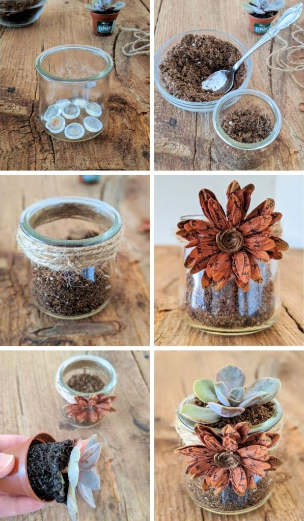 Step-by-Step Photos - How to make Repurposed Succulent Planters.