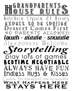 Grandparents house rules free printable