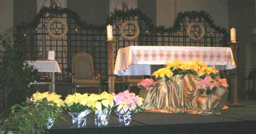 Altar in a Catholic Church. Tips for Going To Mass with Young Children, Part 1: sit close to the front during Mass.