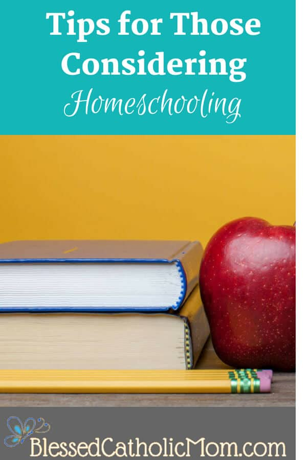 Tips for those considering homeschooling has ideas to follow to discern whether or not you are called to homeschool. Image of two books, three pencils, and a red apple with a mustard colored background. Image from lightstock.com.