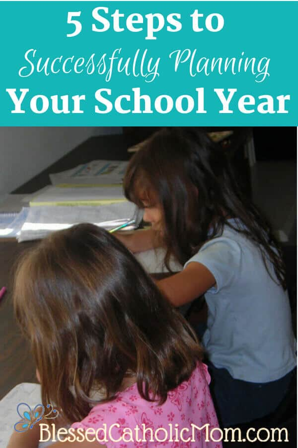 Follow 5 simple steps to successfully plan your homeschool year. Image of two girls at a desk working on schoolwork.