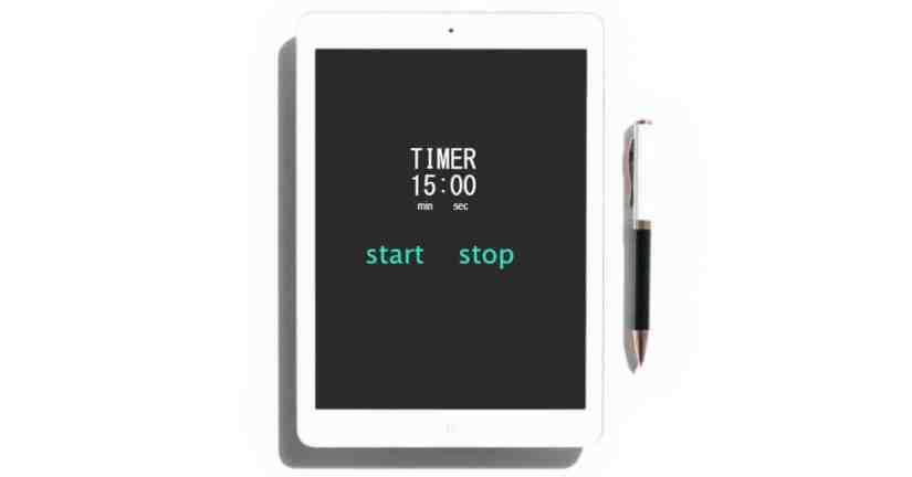 My friend, the timer-managing my day with a the aid of a timer. Image a timer on a tablet set to 15 minutes