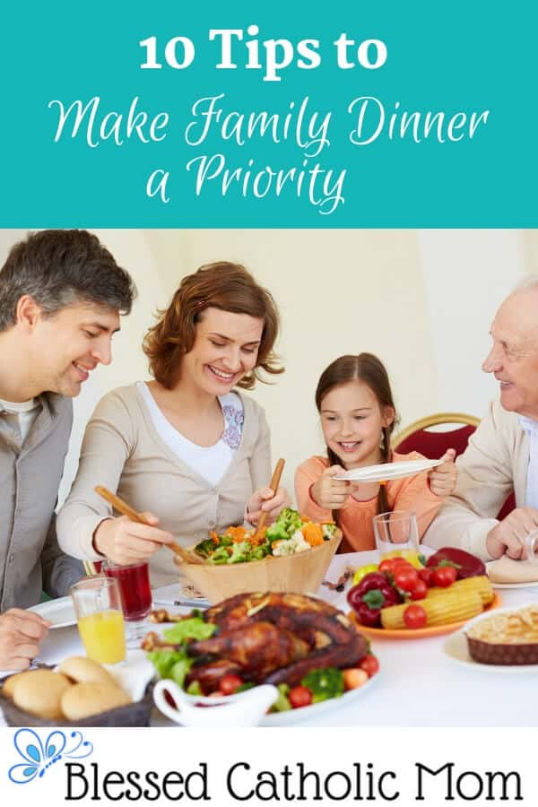 Here are tips to make family dinners happen and enjoyable. Create a special time together to have fun, learn more about each other, and plan together. Image of a family enjoying a dinner together.