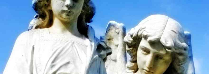 When we pray the Guardian Angel Prayer, we acknowledge that God has given us the gift of a Guardian Angel and we ask our Angel to help and protect us.Image of two statues: a child and his Guardian Angel.