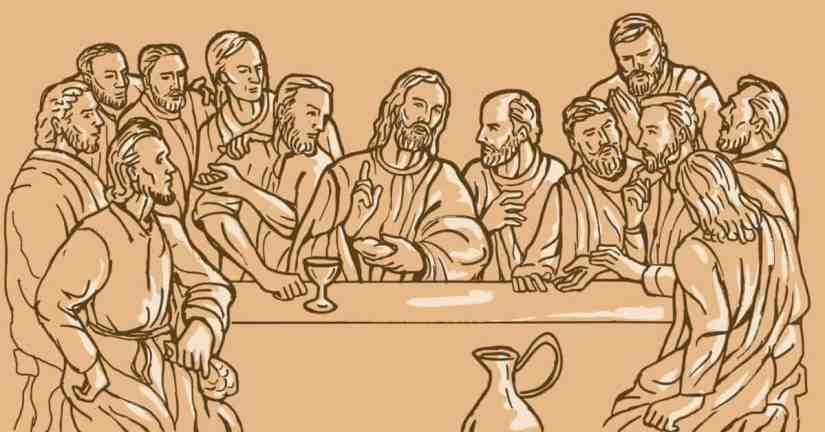 God shows His love for us in the Eucharist. Receiving Jesus' body and blood in Holy Communion, is one of the best ways we can uniteourselves with Christ. Image of a drawing of Jesus at the Last Supper with some of His Apostles.