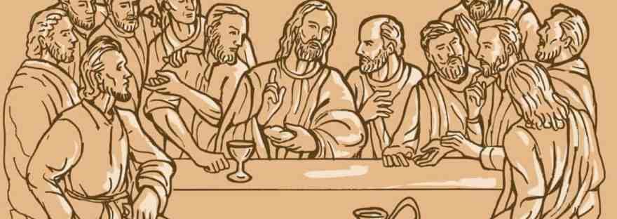 God shows His love for us in the Eucharist. Receiving Jesus' body and blood in Holy Communion, is one of the best ways we can unite ourselves with Christ. Image of a drawing of Jesus at the Last Supper with some of His Apostles.