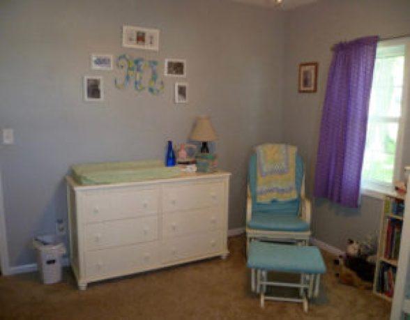 pastel nursery blue glider white dresser
