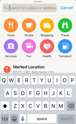 search amenities on apple maps