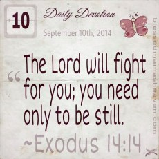 Daily Devotion • September 10th • Exodus 14:14 • The Lord will fight for you; you need only to be still.