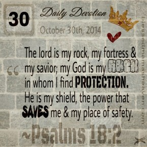 Daily Devotion • October 30th • Psalms 18:2 ~The lord is my rock, my fortress & my savior; my God is my rock, in whom I find protection. He is my shield, the power that saves me & my place of safety.