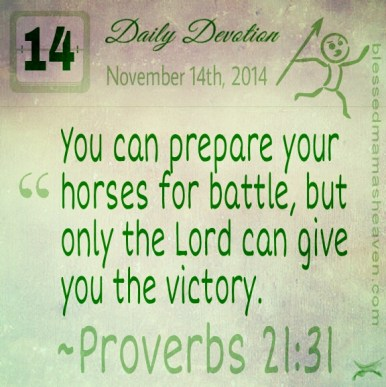 Daily Devotion • November 14th • Proverbs 21:31 ~You can prepare your horses for battle, but only the Lord can give you the victory.