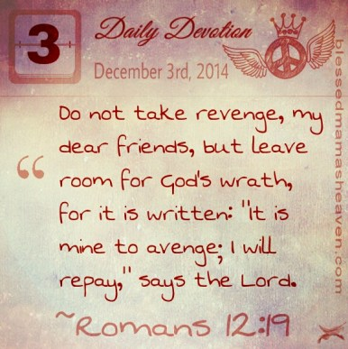 "Daily Devotion • December 3rd • Romans 12:19 ~Do not take revenge, my dear friends, but leave room for God's wrath, for it is written: ""It is mine to avenge; I will repay,"" says the Lord."