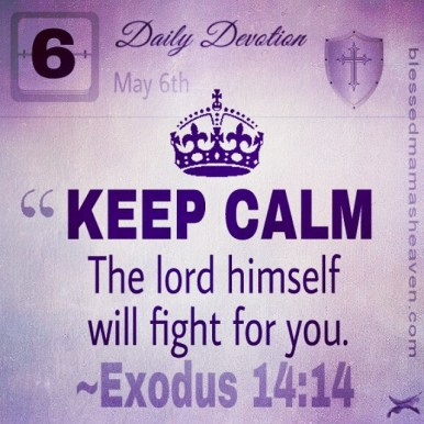 Daily Devotion • May 6th • Exodus 14:14 ~KEEP CALM. The lord himself will fight for you.""