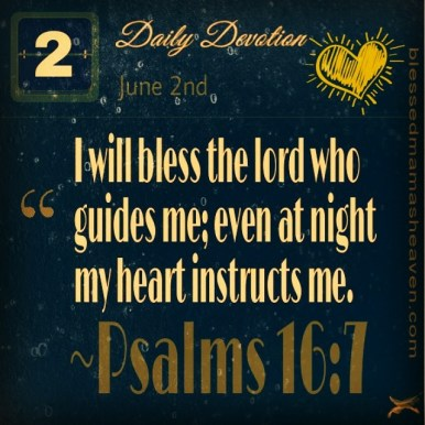 Daily Devotion • June 2nd • Psalms 16:7 ~I will bless the lord who guides me; even at night my heart instructs me.