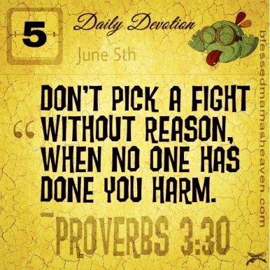 Daily Devotion • June 5th • Proverbs 3:30 ~Don't pick a fight without reason, when no one has done you harm.