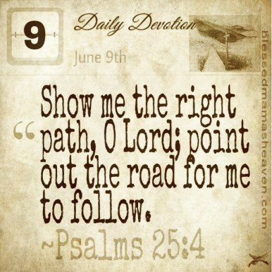 Daily Devotion • June 9th • Psalms 25:4 ~Show me the right path, O Lord; point out the road for me to follow.