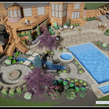 Estate Garden with infinity pool (3D)