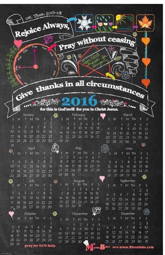 2016 Blessinks Calendar 1TH516