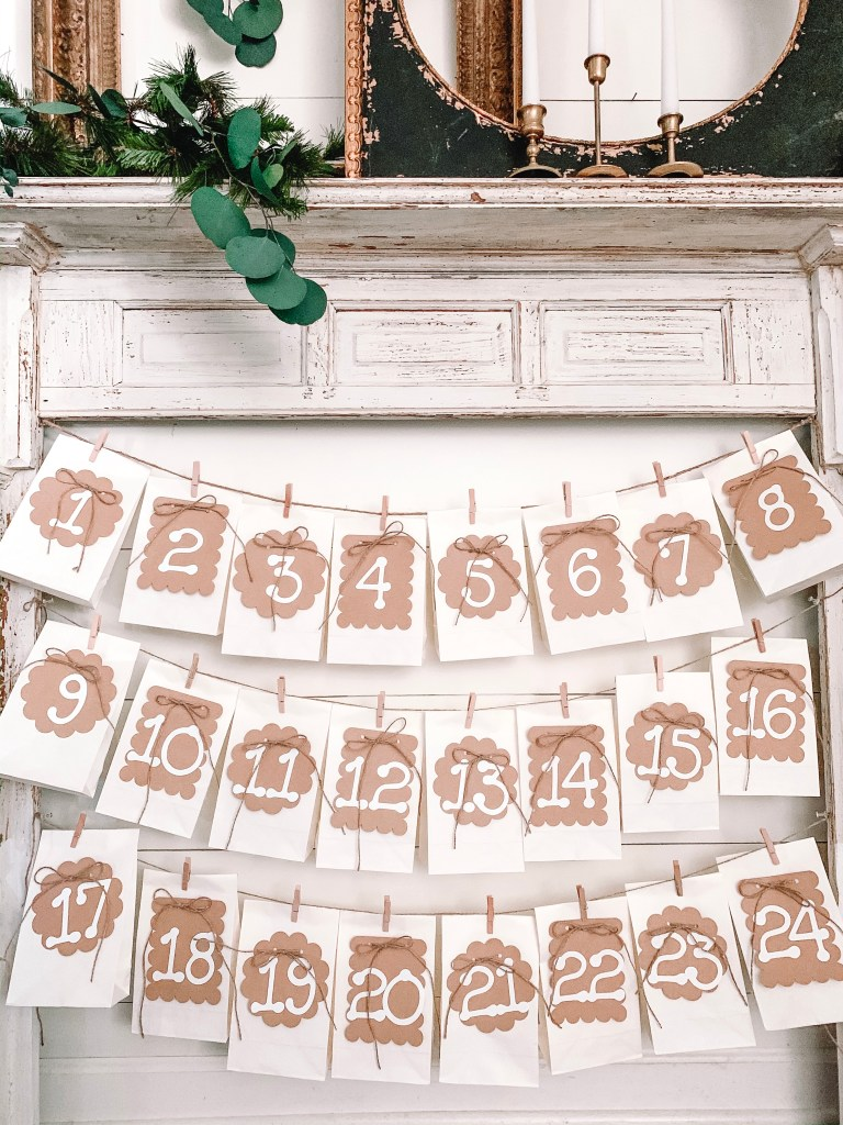 numbered bags hanging on mantel