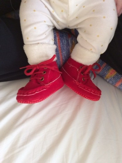 I also love booties for babies and a pop of red every now and then.