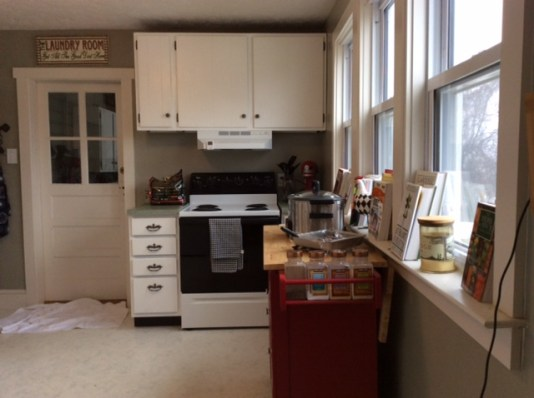 The tiny kitchen was renovated on a budget in the late 90s. We eventually plan to gut and expand it, but for now white paint on the cabinets freshens it a bit.