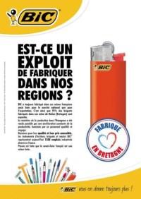 Affiche Bic ; Est-ce un exploit de fabriquer dans nos régions ? Briquet Bic, fabriqué en Bretagne.
