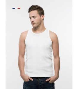 "tank top ""Le Marc"". 100% ribbed cotton, rounded neck and sleeves. Knitted in Roanne."