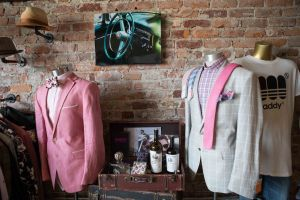Bleu Bowtique Detroit pink suit tie and bowtie