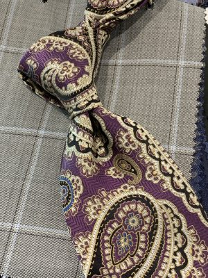Purple Gold Silk Paisley Neck Tie