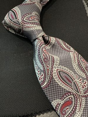 Gray Silver Burgundy Paisley Neck Tie