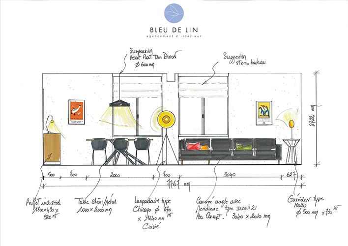 Salon et salle à manger type industriel