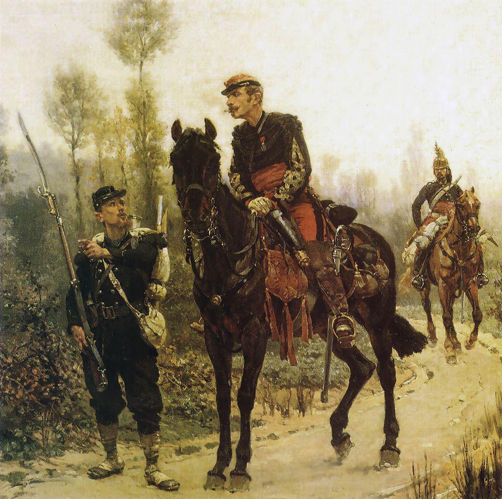 Chasseur à pied renseignant un officier supérieur d'état-major, de Neuville