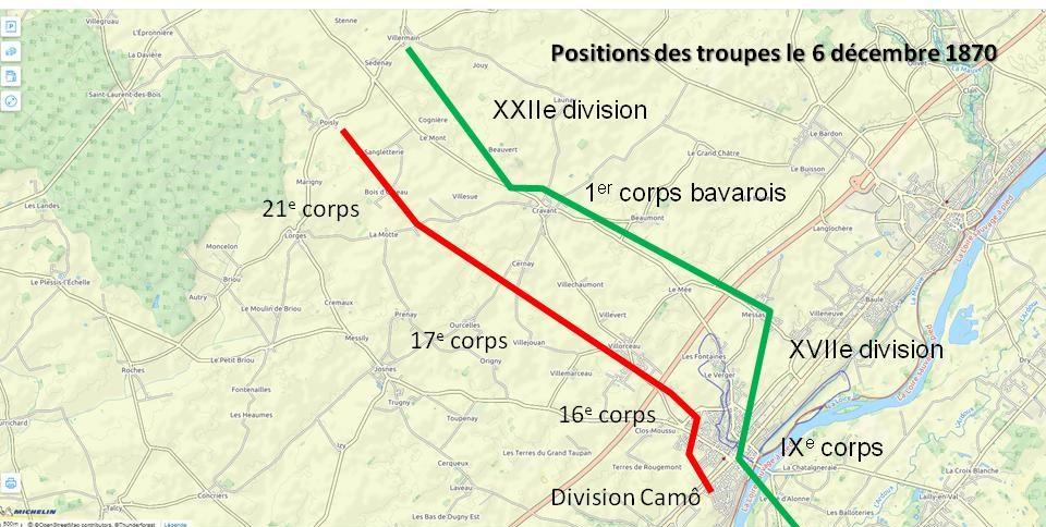 Positions françaises dans le secteur nord de Beaugency face à l'ennemi