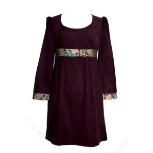 Robe Empire Marrakech en velours marron
