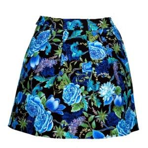 Jupe Corolle noire à fleurs bleues Tree of Life