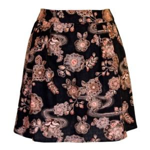 Jupe corolle noire et marron Ancient Kimono