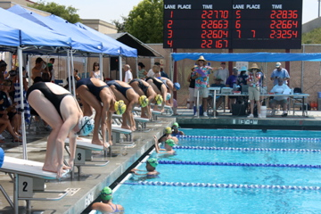 Healthy competition at a swim meet.