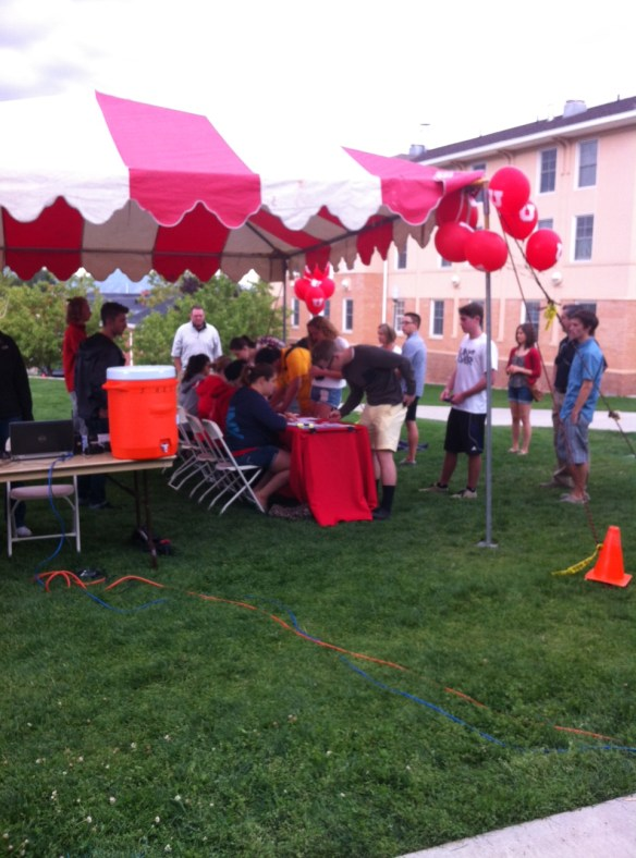 The check-in table at Move-in day.