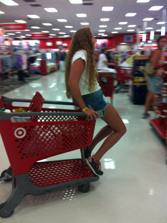 Shopping at Target for the dorm freshman year.